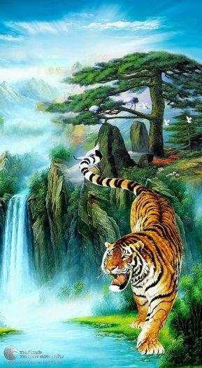 Tranh hổ - tranh gạch 3d tranh hổ phong thủy2