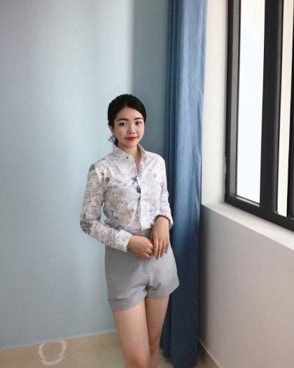 Áo sơ mi nữ tay dài họa tiết thời trang tự thiết kế A2.10
