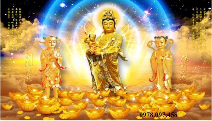 Tranh gạch trang trí phòng thờ Đức Phật0