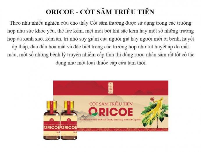 Cốt Sâm ORICOE hỗ trợ sức khoẻ và tăng đề kháng cho cơ thể1