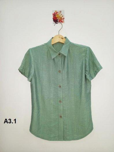 Áo sơ mi nữ ngắn tay màu xanh trơn thời trang tự thiết kế A3.12