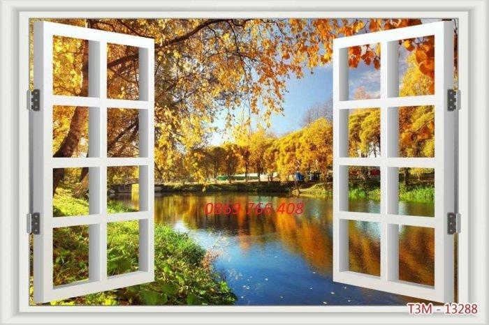 Tranh gạch-tranh cửa sổ 3D4