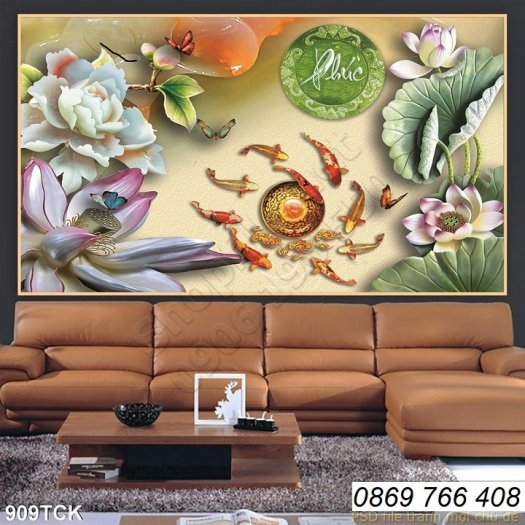 Tranh dán tường-tranh hoa sen8