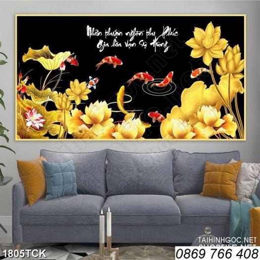 Tranh dán tường-tranh hoa sen3
