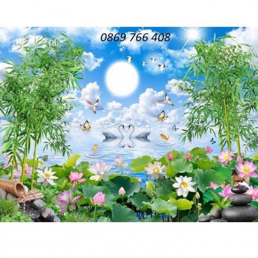 Tranh dán tường-tranh hoa sen2