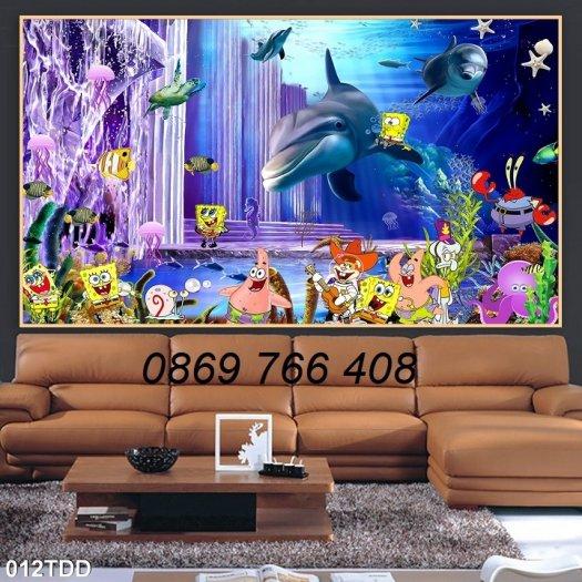 Tranh dán tường-Tranh cá heo 3D5