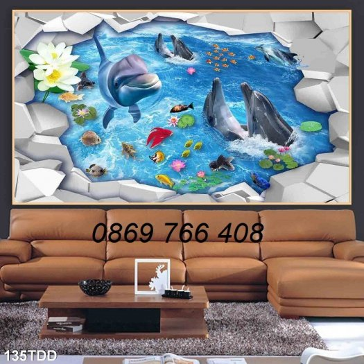 Tranh dán tường-Tranh cá heo 3D4