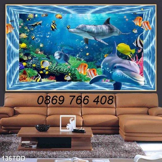 Tranh dán tường-Tranh cá heo 3D3