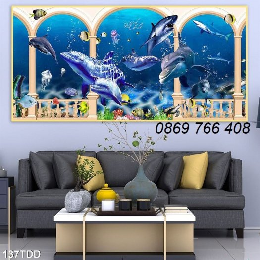 Tranh dán tường-Tranh cá heo 3D2