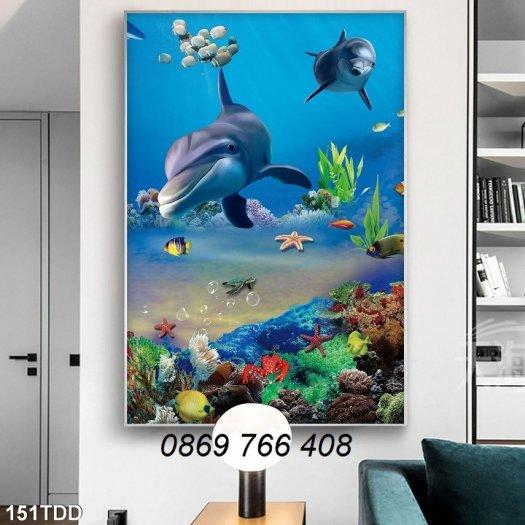 Tranh dán tường-Tranh cá heo 3D1