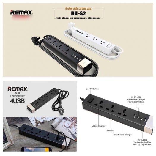 Ổ Cắm Điện Remax RU-S2 Kiêm 4 cổng USB sạc điện thoại các loại7