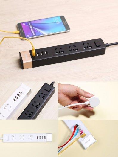 Ổ Cắm Điện Remax RU-S2 Kiêm 4 cổng USB sạc điện thoại các loại0