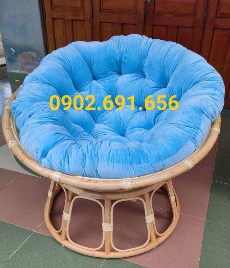 Ghế mây thư giãn papasan nệm xanh dương3