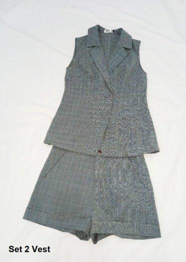 Bộ Vest sát nách quần ngắn sọc caro nữ thời trang tự thiết kế - Set 2 Vest2