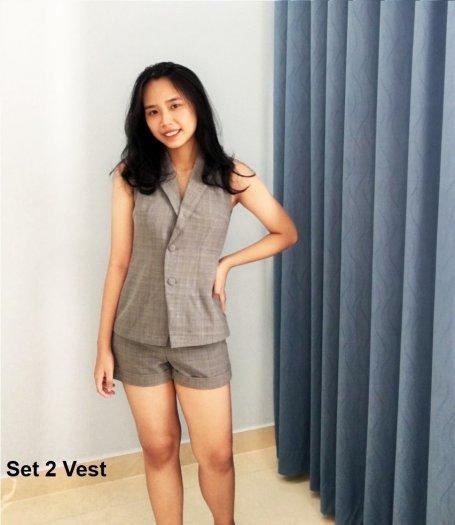 Bộ Vest sát nách quần ngắn sọc caro nữ thời trang tự thiết kế - Set 2 Vest1