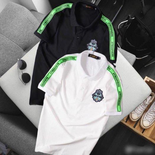 Áo thun nam cổ trụ cao cấp logo viền xanh lá2