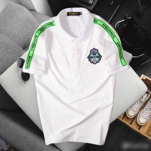 Áo thun nam cổ trụ cao cấp logo viền xanh lá1
