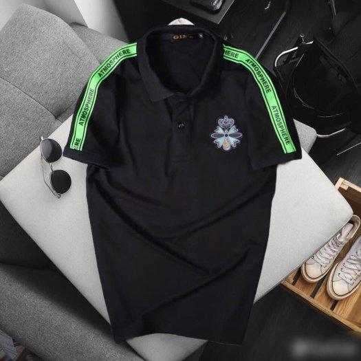 Áo thun nam cổ trụ cao cấp logo viền xanh lá0