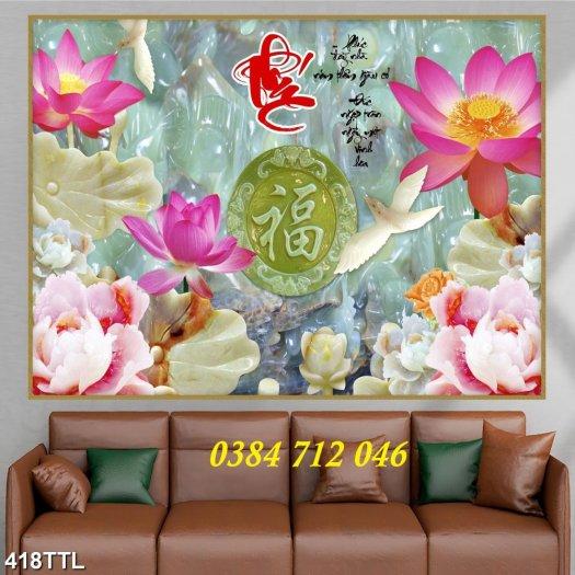 Tranh gạch men trang trí tường, tranh hoa sen treo phòng5