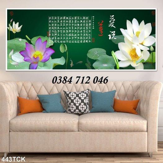Tranh gạch men trang trí tường, tranh hoa sen treo phòng4
