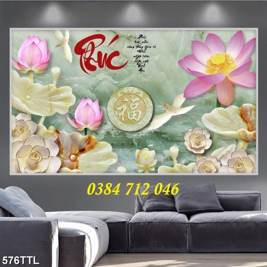 Tranh gạch men trang trí tường, tranh hoa sen treo phòng2