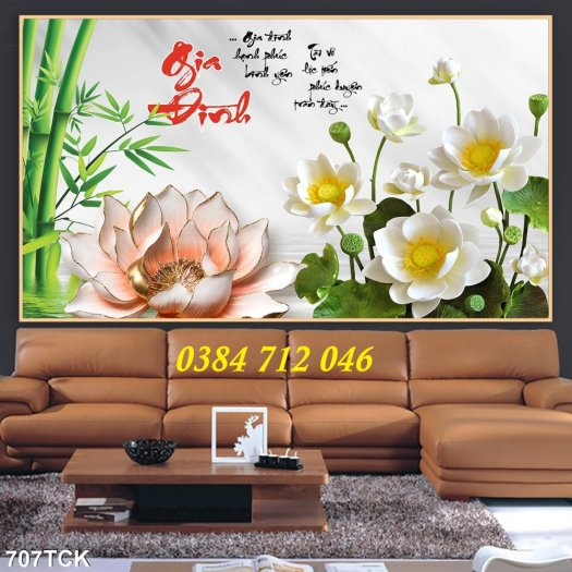 Tranh gạch men trang trí tường, tranh hoa sen treo phòng1