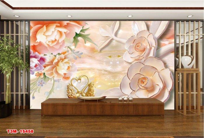 Tranh hoa mẫu đơn trang trí phòng- tranh gạch men 3D3
