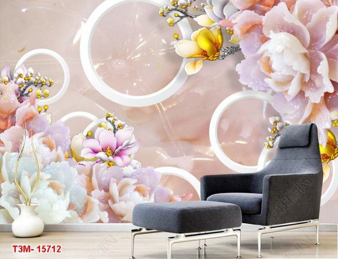 Tranh hoa mẫu đơn trang trí phòng- tranh gạch men 3D2