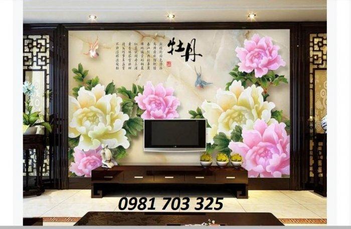 Tranh hoa mẫu đơn trang trí phòng- tranh gạch men 3D1