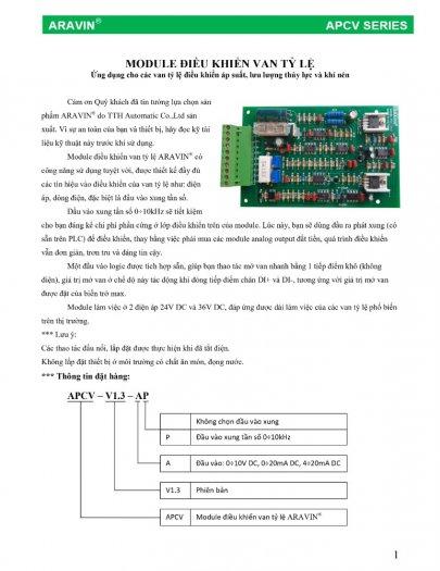 APCV-V1.3-AP - Board mạch điều khiển van tỉ lệ với đầy đủ các tín hiệu điều khiển... do ARAVIN sản xuất7
