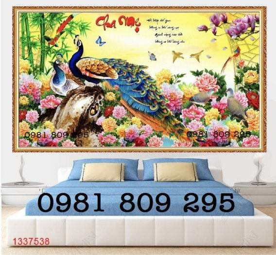 Tranh chim công - gaachj tranh 3d ốp phòng ngủ - tranh giá rẻ5
