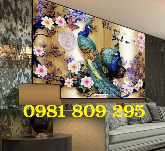 Tranh chim công - gaachj tranh 3d ốp phòng ngủ - tranh giá rẻ4