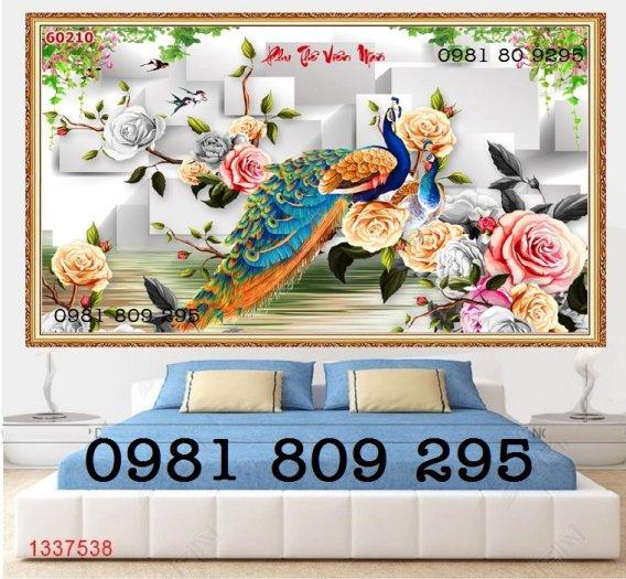 Tranh chim công - gaachj tranh 3d ốp phòng ngủ - tranh giá rẻ3