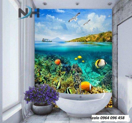 Gạch tranh 3d dán tường phòng tắm - 87QC7