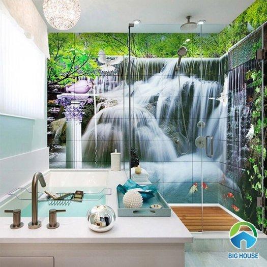 Gạch tranh 3d dán tường phòng tắm - 87QC6