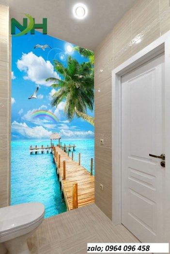 Gạch tranh 3d dán tường phòng tắm - 87QC1