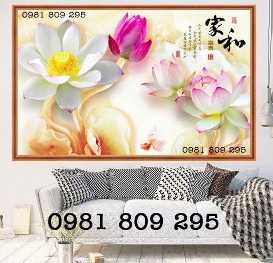 Tranh hoa sen 3d - gạch tranh ốp phòng khách3