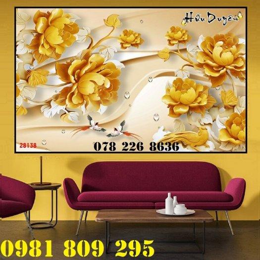 Tranh hoa sen 3d - gạch tranh ốp phòng khách2