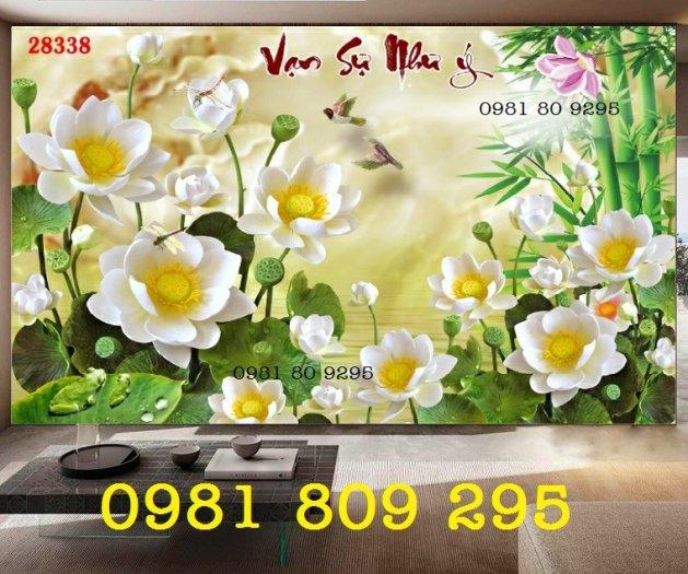 Tranh hoa sen 3d - gạch tranh ốp phòng khách0