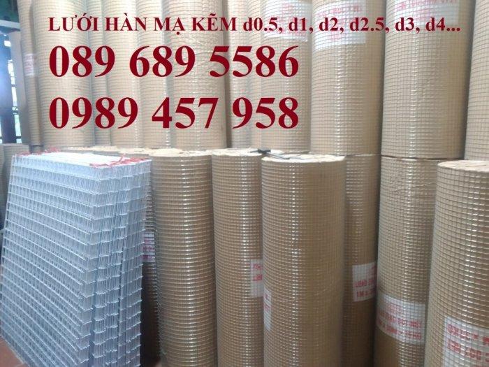 Lưới hàn mạ kẽm nhúng nóng dây 1ly 12x12, 15x15, 20x20, Lưới cuộn 2ly 25x25 và 3ly 50x500, 50x1007
