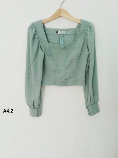 Áo Croptop dài tay màu xanh thời trang tự thiết kế A4.22