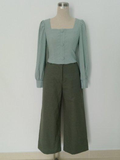 Áo Croptop dài tay màu xanh thời trang tự thiết kế A4.20