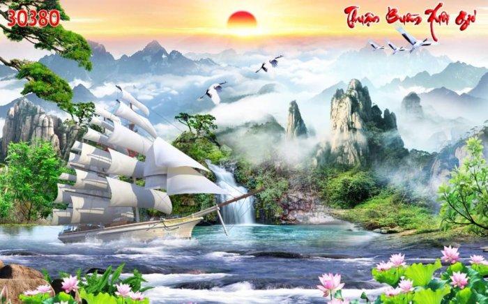 Tranh 3D - tranh thuyền và biển - tranh gạch4