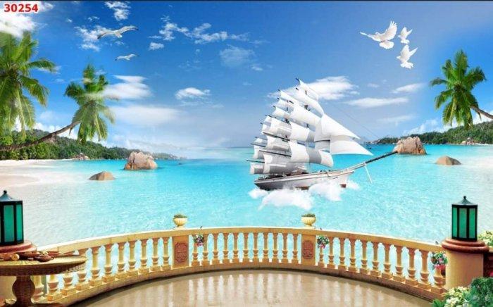 Tranh 3D - tranh thuyền và biển - tranh gạch3