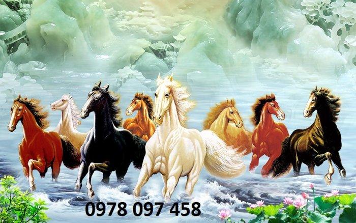 Tranh phong thủy phòng khách - tranh ngựa0