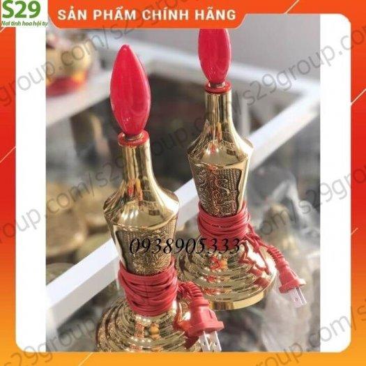 Compo đôi đèn thờ bằng đồng hình trái ớt cao 25cm,Hàng chính hãng