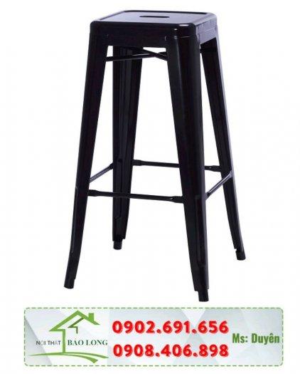 Ghế bar tolix không tựa màu đen, ghế bar cafe0