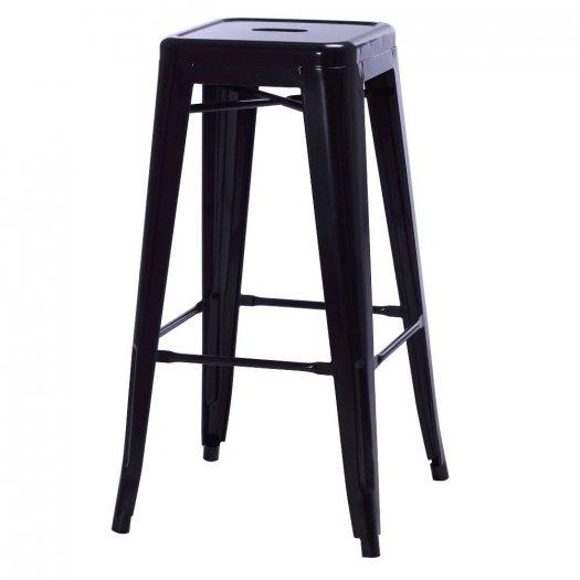 Ghế bar tolix không tựa màu đen, ghế bar cafe1