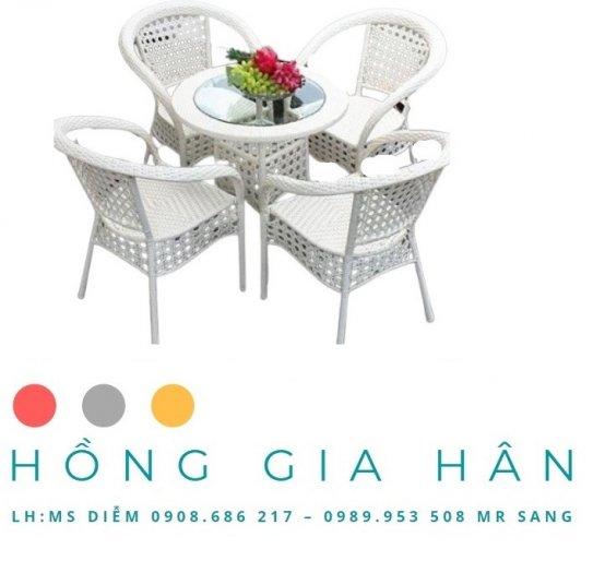 Bộ bàn ghế mây nhựa Hồng Gia Hân BGM210