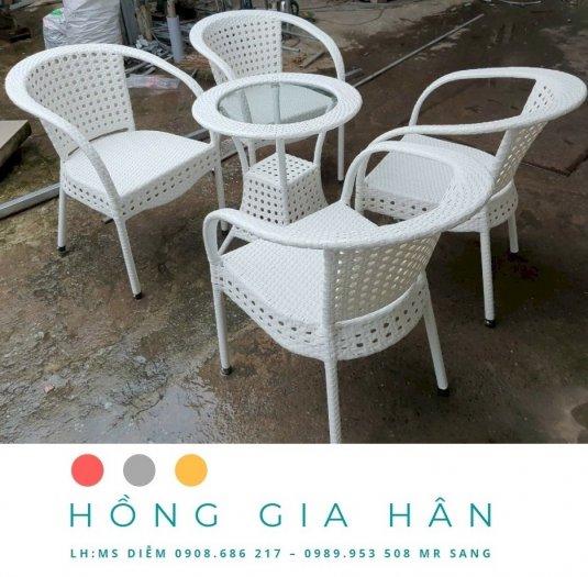 Bộ bàn ghế mây nhựa Hồng Gia Hân BGM290